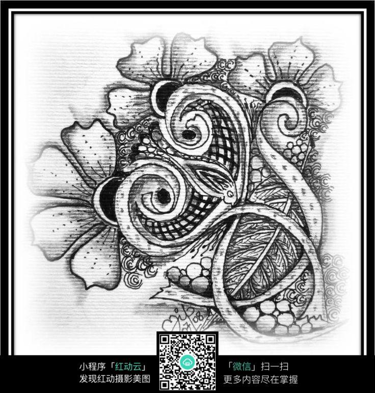 花朵 线条 纹路 图案 个性 手绘 黑白 构成 设计