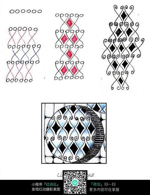 简单线条镂空菱形图案