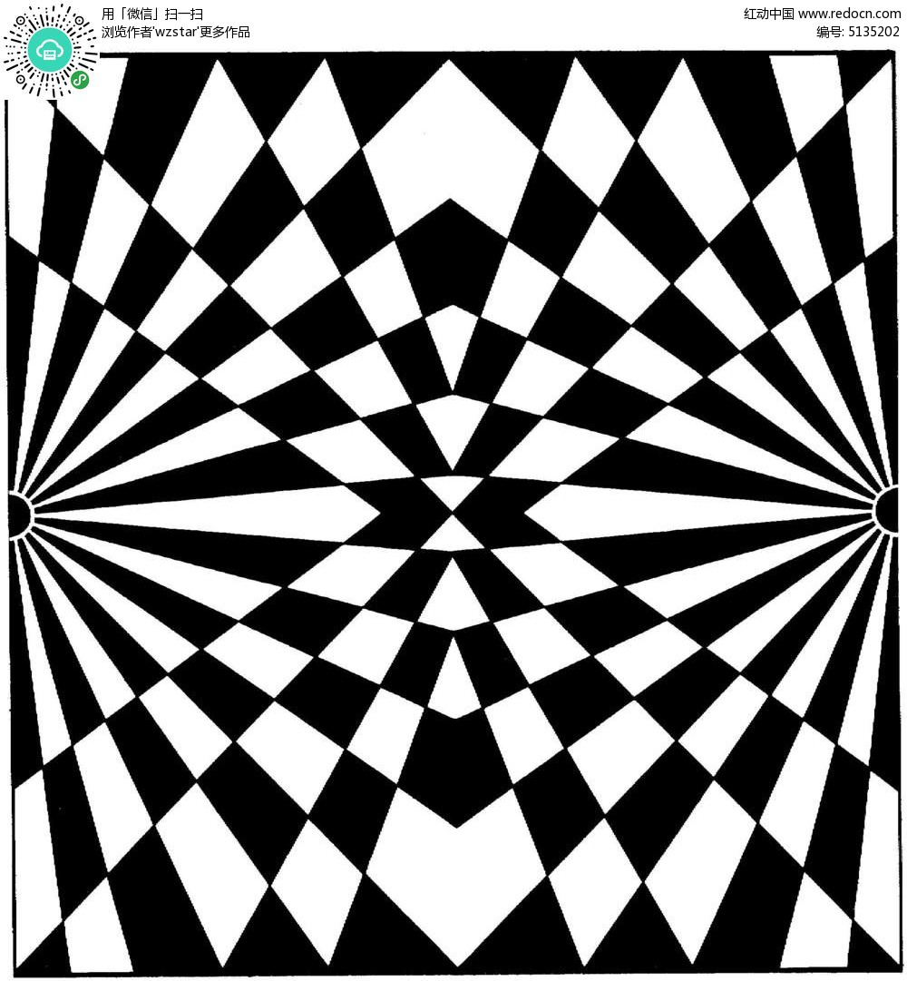 鏡像三角放射花紋圖片