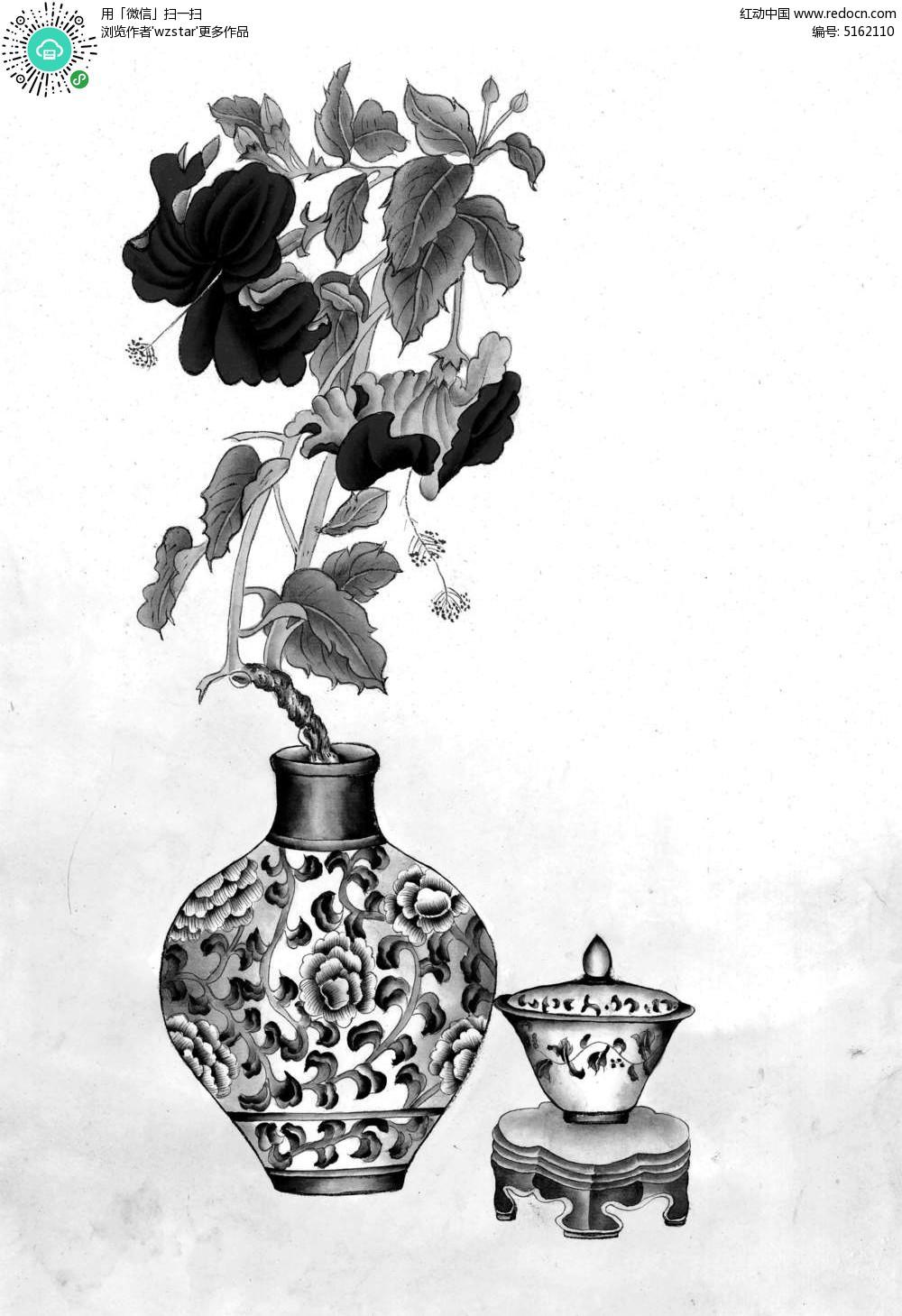 镂空花瓶装饰山水画TIF素材免费下载 编号5162110 红动网