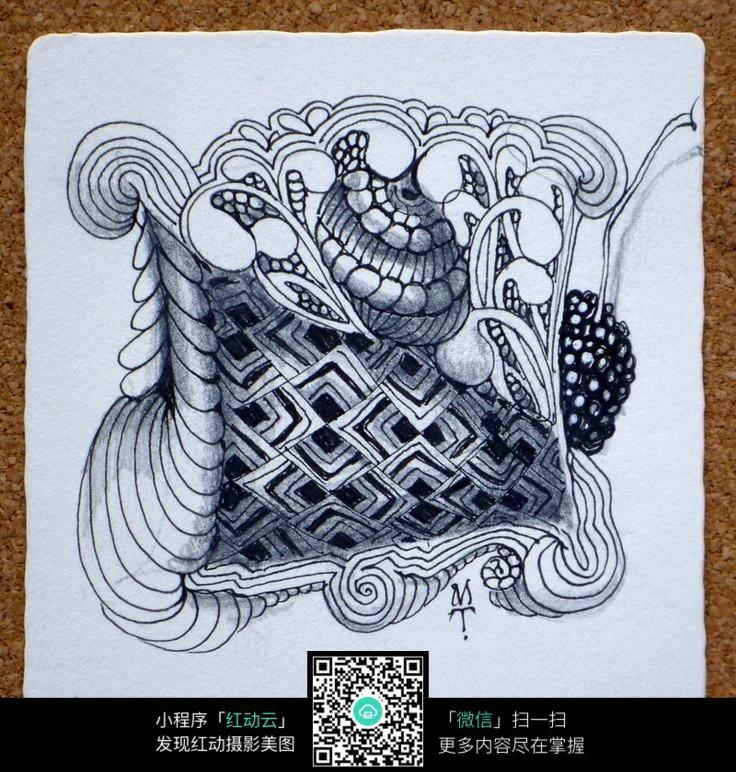镂空 菱形 花纹 图案 设计 手绘 黑白 构成