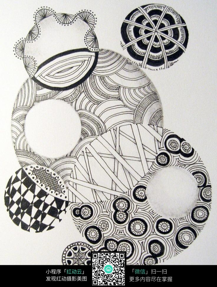 镂空 圆形 花纹 网格 图案 个性 手绘 黑白 构成 创新