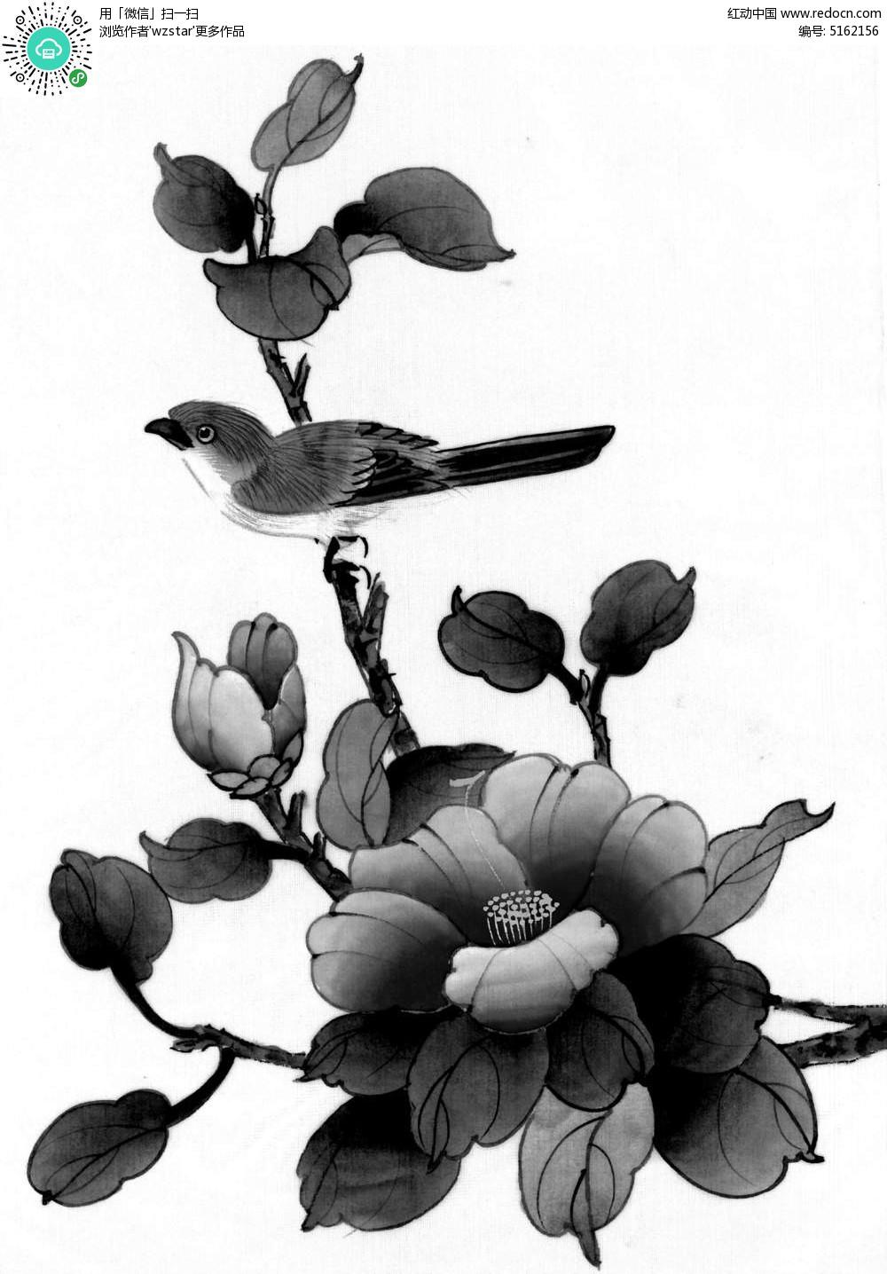 盛开的花朵古风插画设计图片