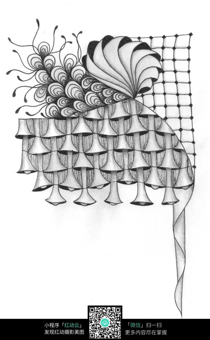 网格 图案 形象 花纹 创意 手绘 黑白 构成
