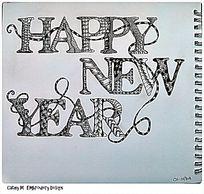 新年快乐原创手绘英文字母设计