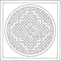 圆形方格镂空花纹