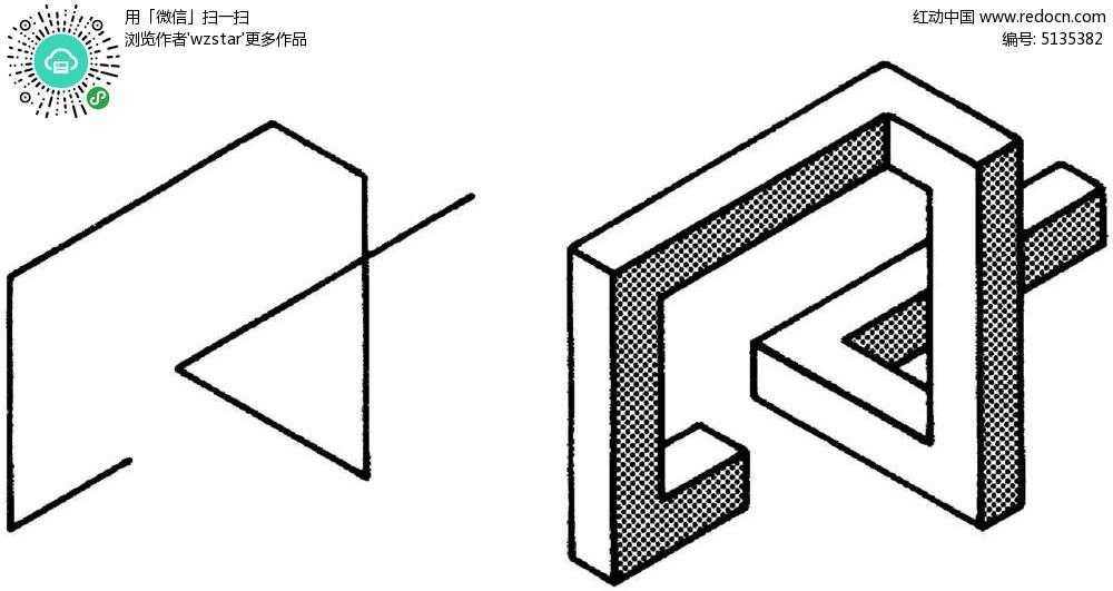 黑白线条立体图形