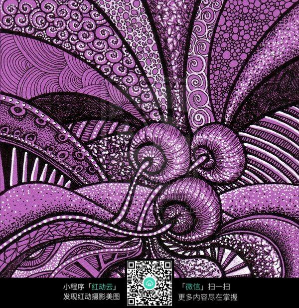 紫色 蘑菇 花纹 线条 灵动 图案 手绘 色彩 构成 质感 浪漫 唯美