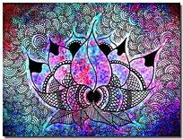 彩色酷炫混色花卉花型设计