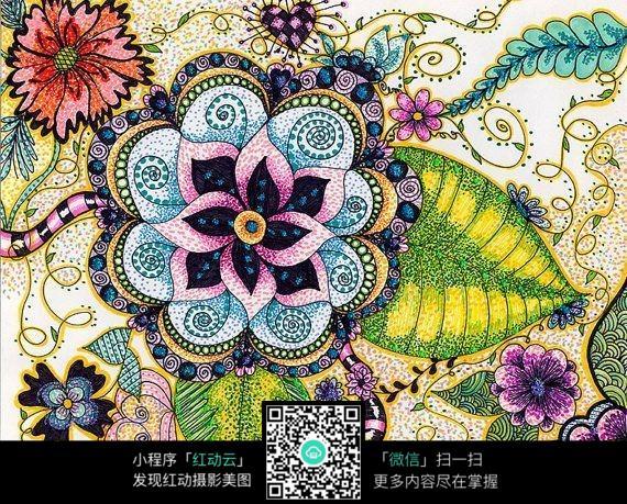 彩色手绘花朵图案图片