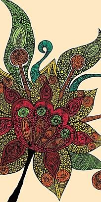 彩色树叶花型设计