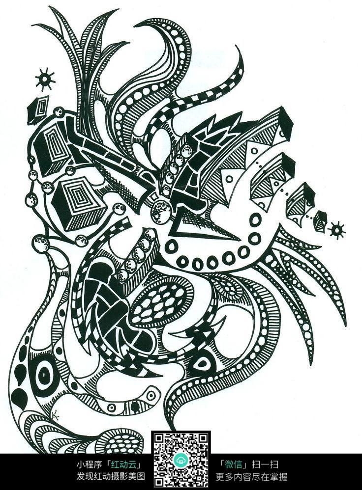 图案 花纹 复杂 精美 手绘 黑白 构成 抽象