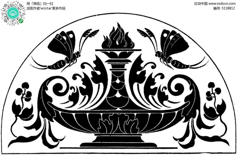 对称蝴蝶花瓶花纹