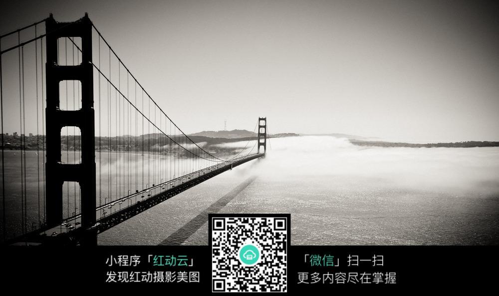 黑白桥梁图片素材