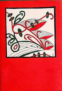 红色平面插画设计