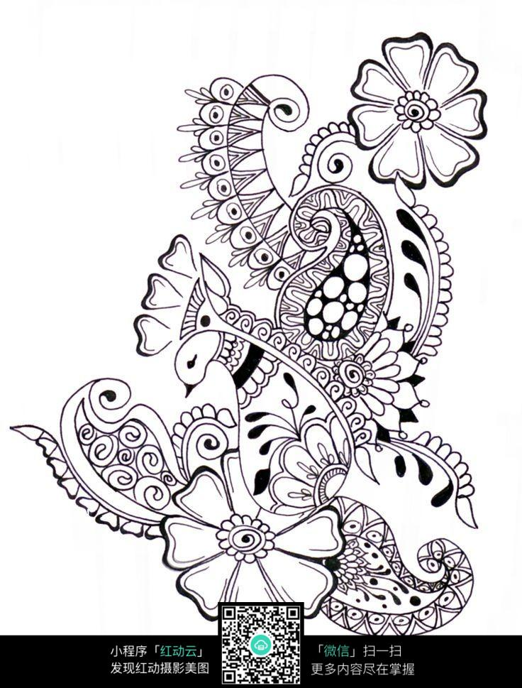 花朵黑白插画设计
