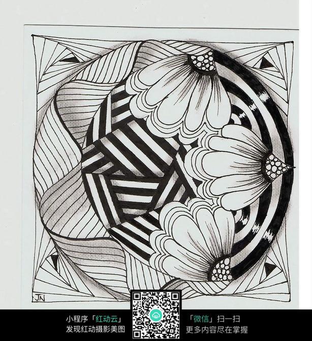 花朵 纹路 条形 图形 图案 设计 抽象 手绘 黑白 构成