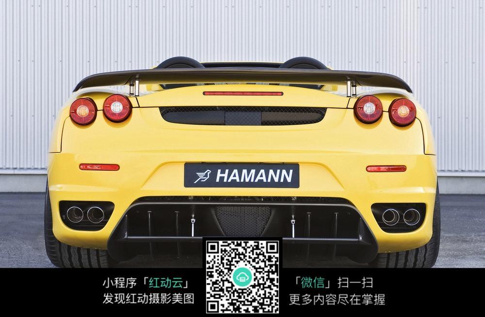 huangsedonggantupian_黄色跑车尾部图片