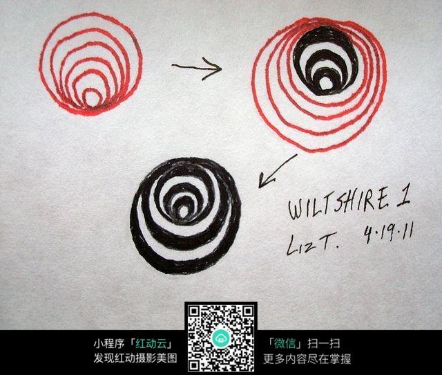 环形年轮手绘插画设计