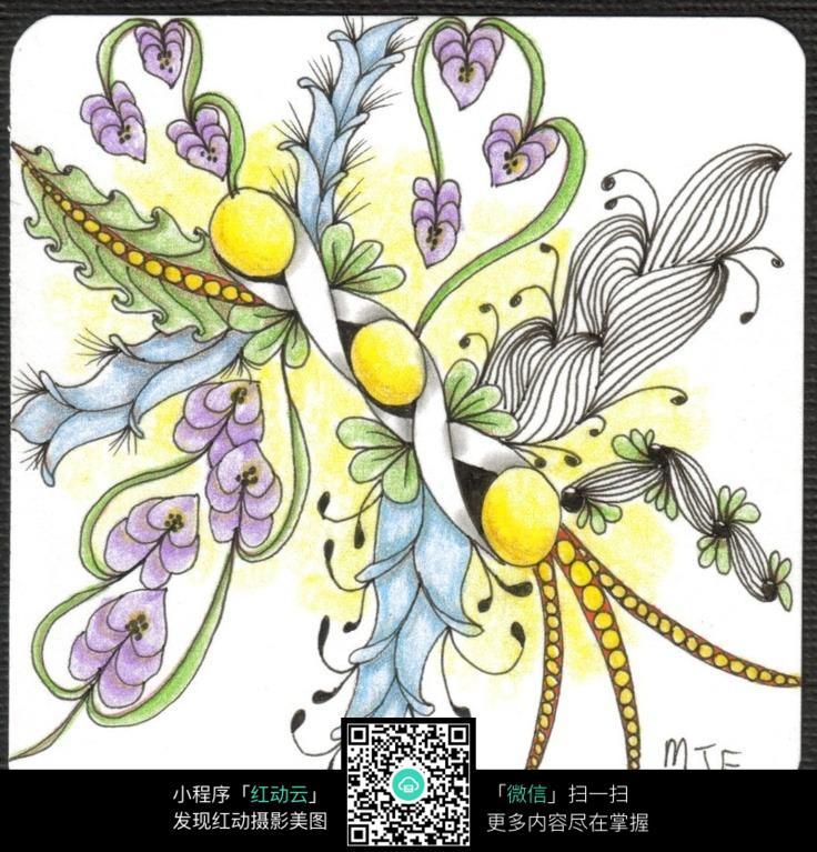 彩色手绘 图案花纹