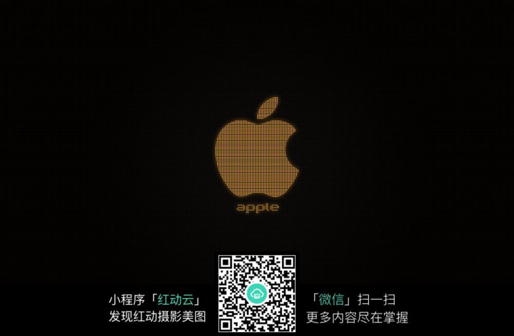 金色苹果黑色背景壁纸设计图片
