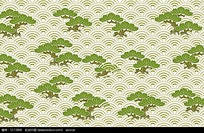 日式传统纹样松波平铺背景图