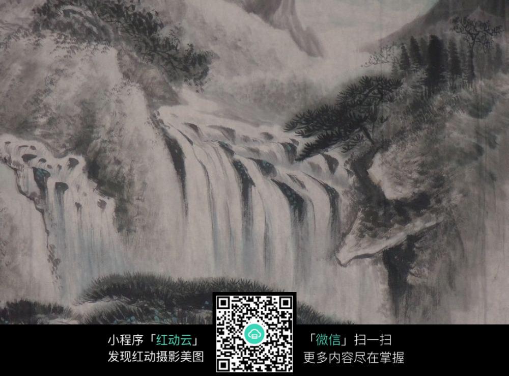 山水瀑布工笔画图片素材