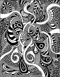 手绘的复杂单色图案