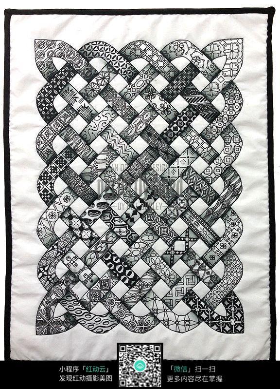 网格 图案 精美 编织 效果 装饰 手绘 黑白 构成 镂空