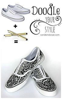 鞋子上的手绘图案