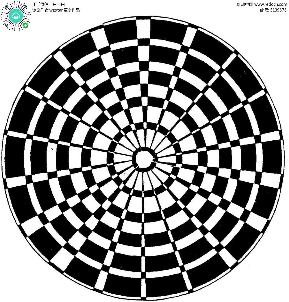 创意黑白格中心放射构成图设计
