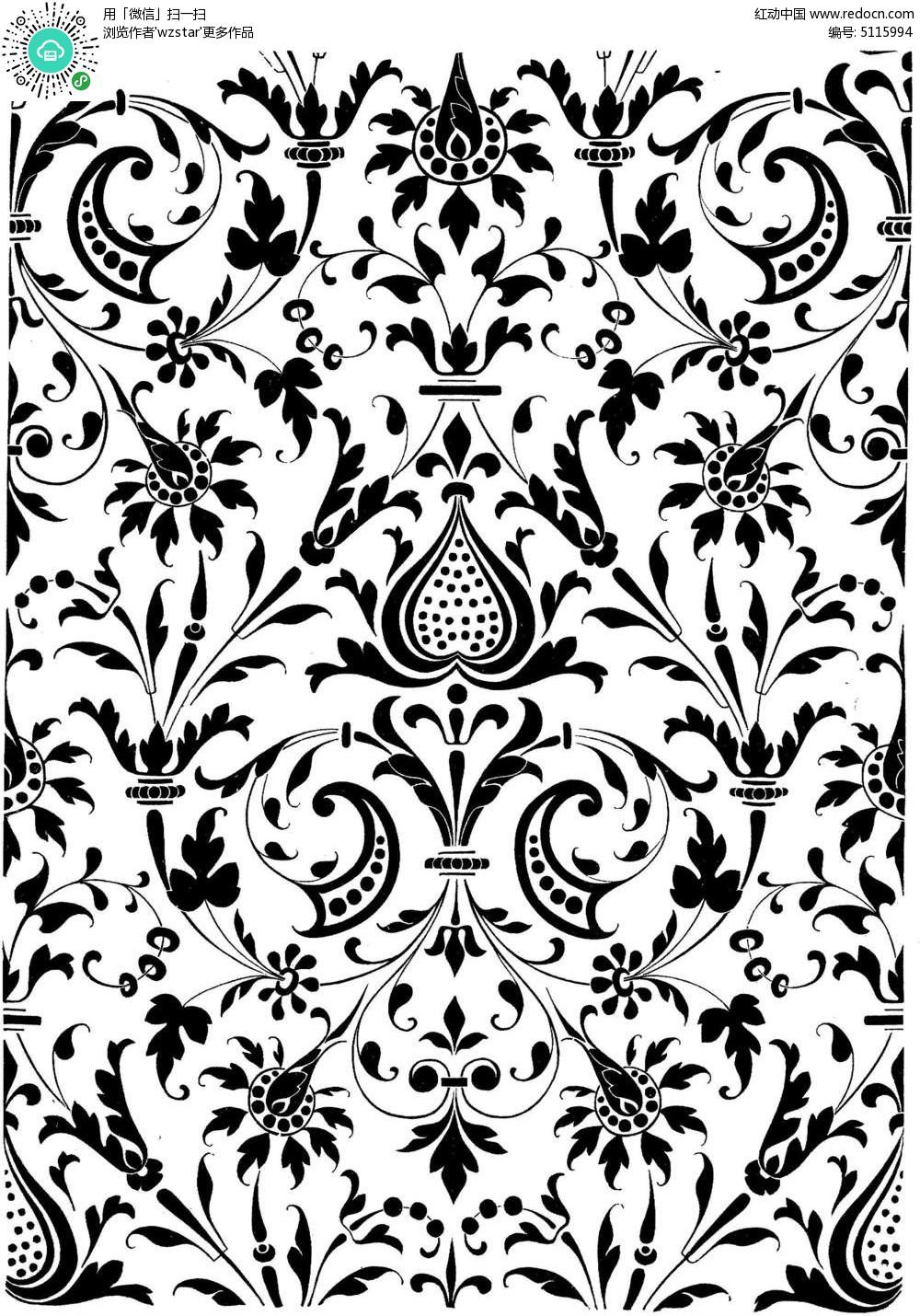传统黑白植物花卉素材