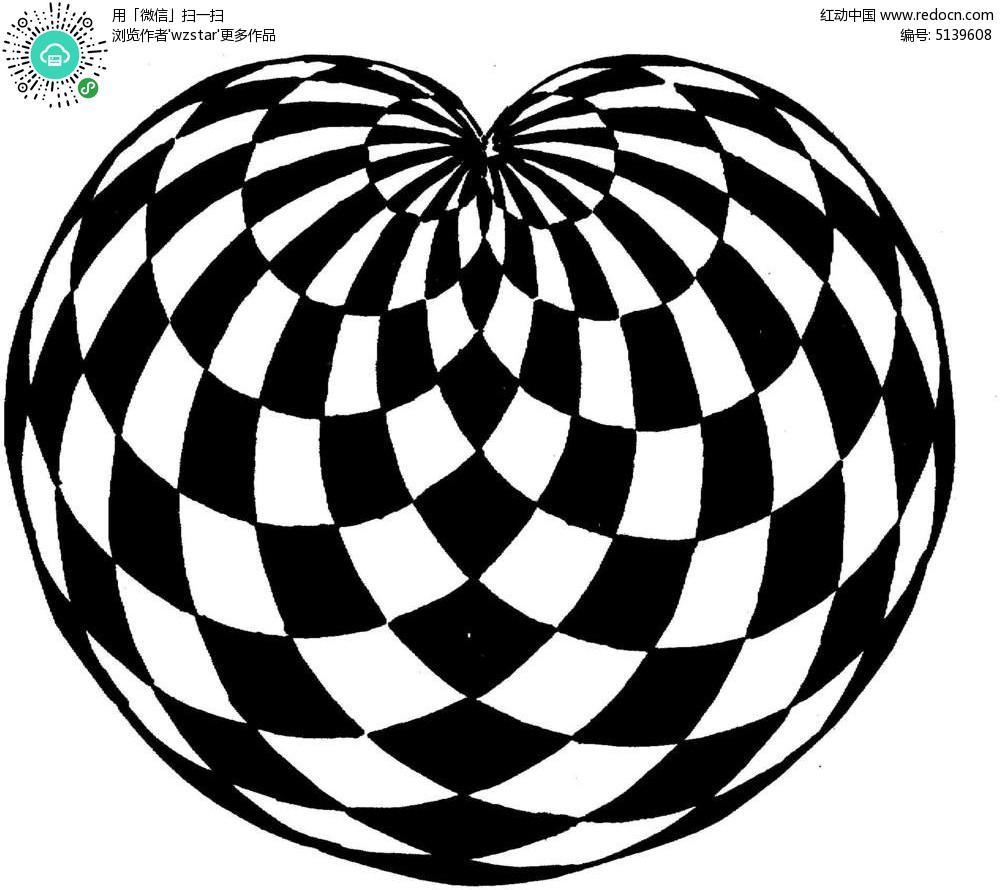 放射黑白菱形花纹