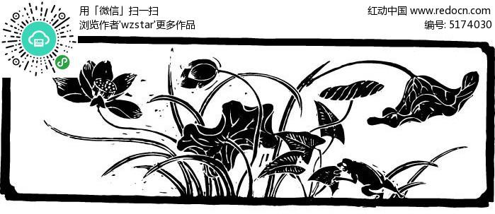 黑白镂空花丛图片