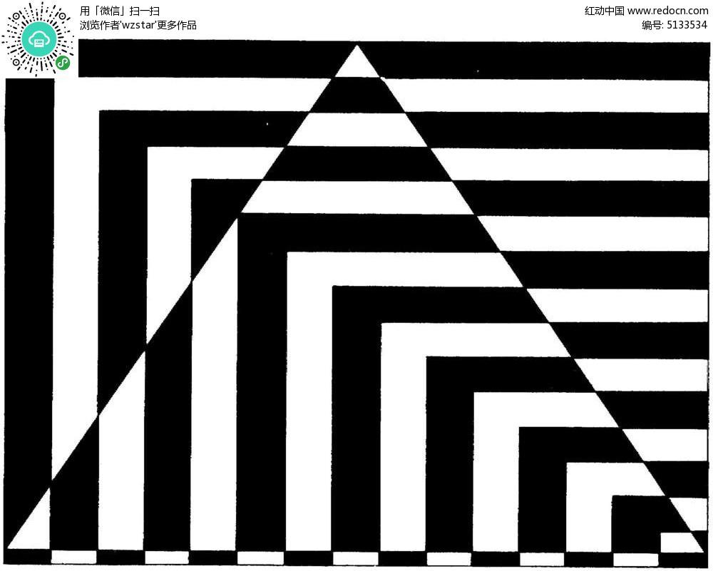 黑白线条三角形折射效果图图片