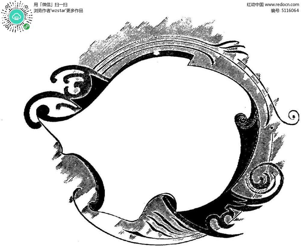 黑白圆环psd素材图片