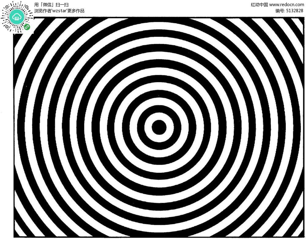 黑同心圆形花纹图案