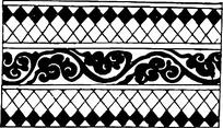菱形黑白格镂空花纹矢量图