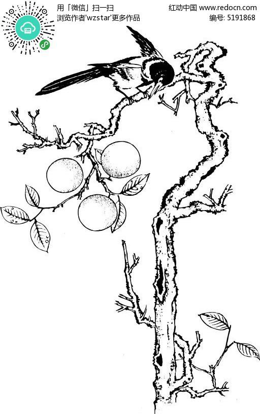 路边桃花树手绘