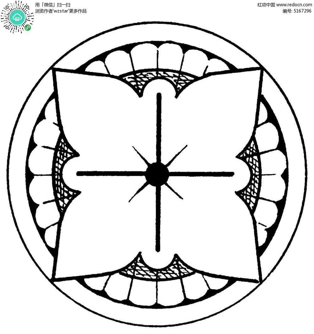圆形对称镂空花纹矢量图案图片