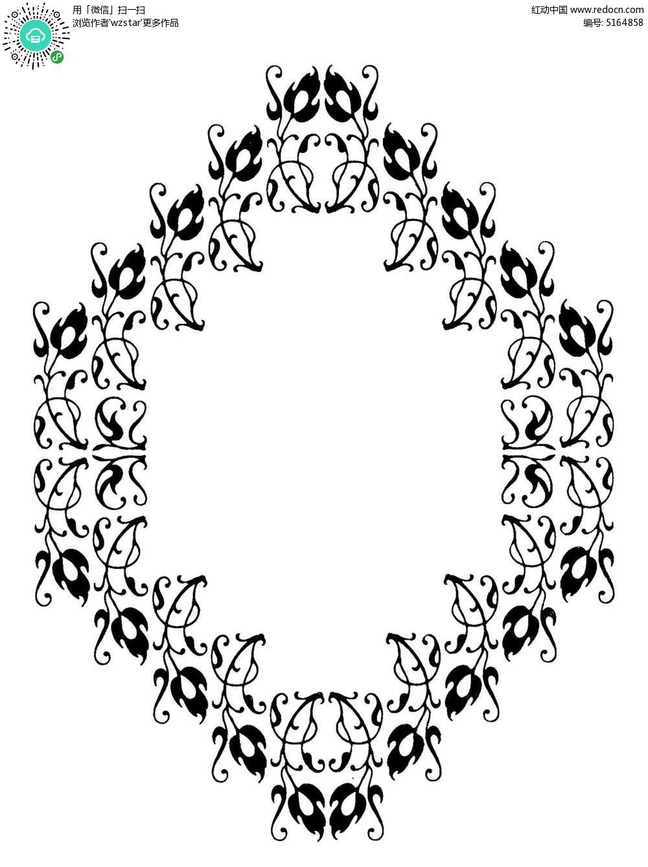 植物线条花纹边框矢量素材