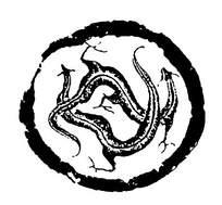 斑驳拓印黑色龙纹