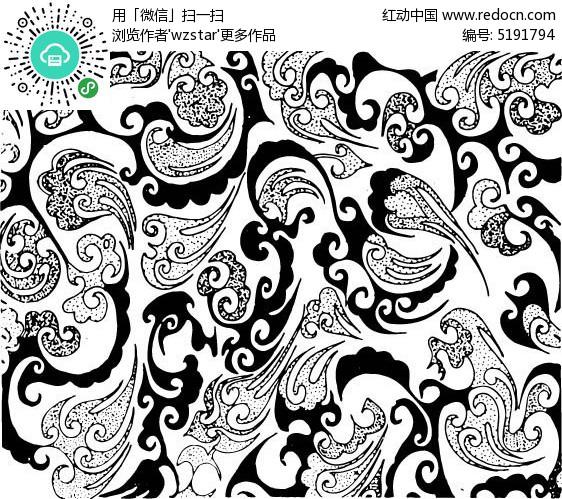 手绘 线稿  花纹图片