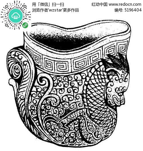 免费素材 psd素材 psd花纹边框 印花图案 古典酒杯装饰龙纹
