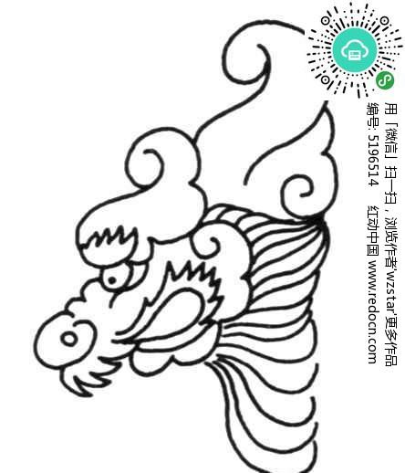 黑白线条龙头花纹
