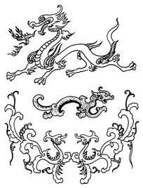 简约草龙装饰图案