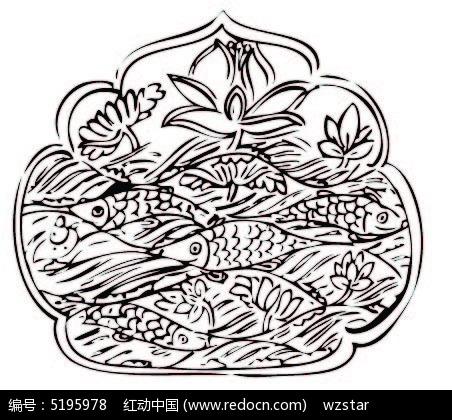 免费素材 矢量素材 花纹边框 其他 莲花鱼类图案图片