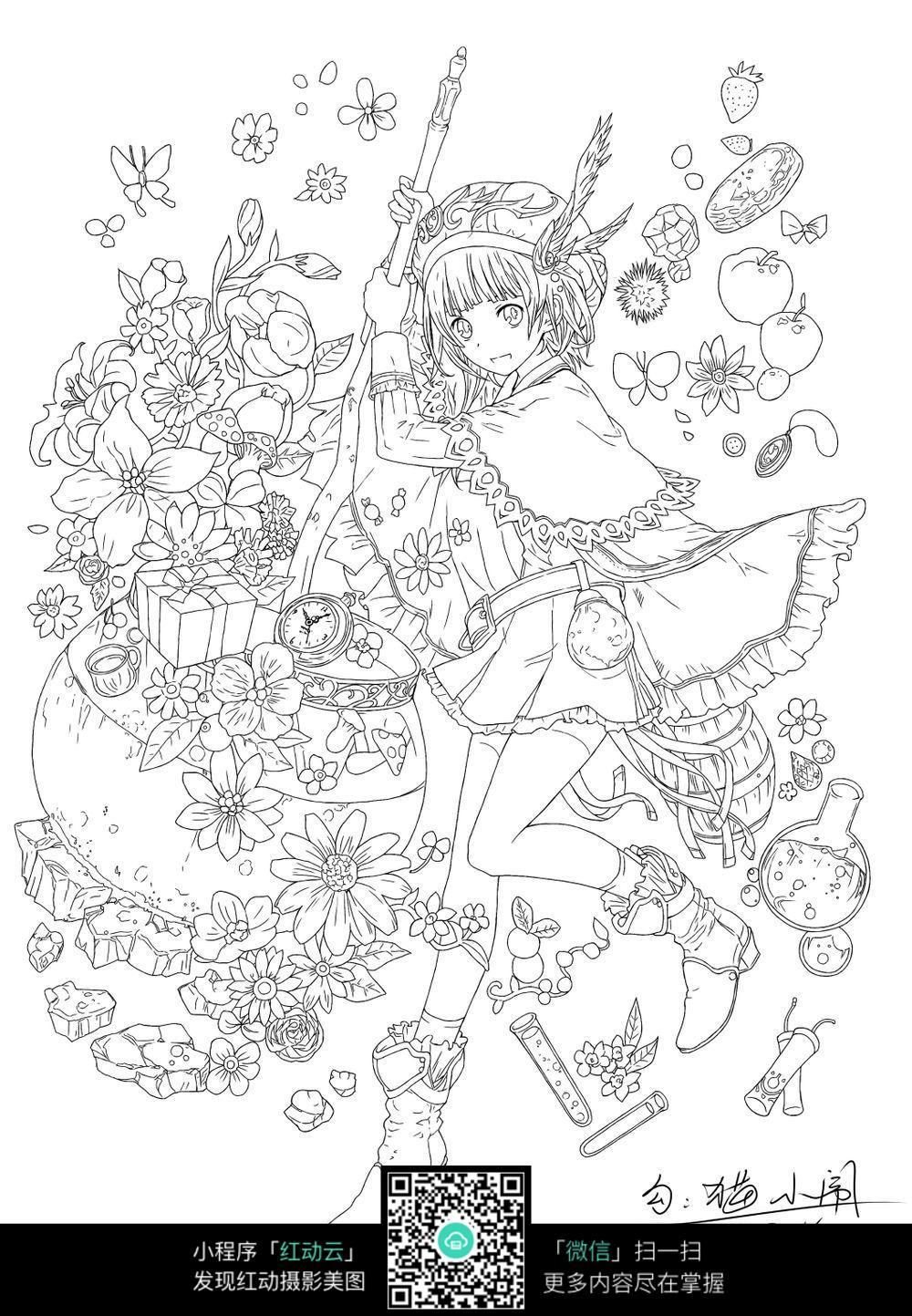 美少女动漫插画手绘
