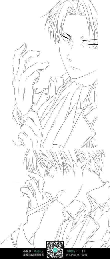 人物手绘线稿 人物卡通画设计 漫画 手绘黑白线稿 手绘  剧情手绘线稿