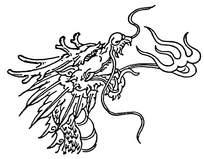 线条龙头花纹